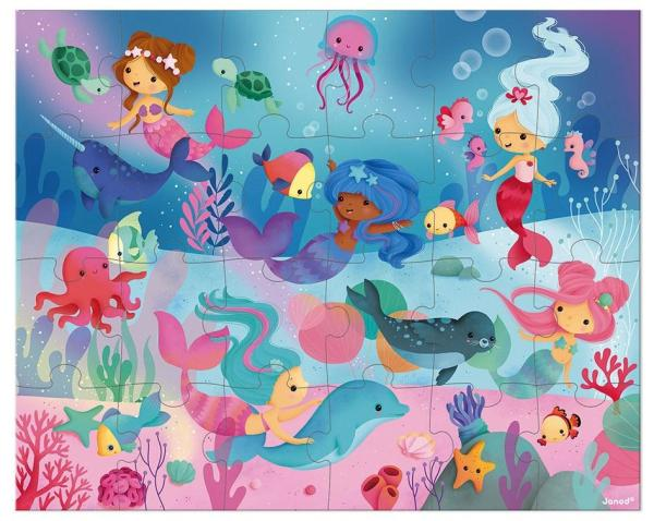 פאזלים פאזל פנורמי 24 חלקים - בנות ים - Mom & Me