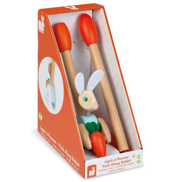 משחקי עץ צעצוע עץ דחיפה ארנב - Mom & Me