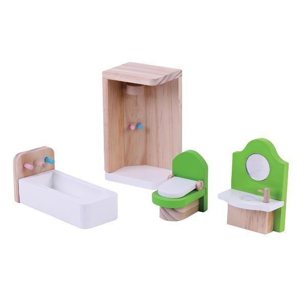 מוצרי עץ ריהוט חדר מקלחת לבית בובות מעץ - מונטסורי - Mom & Me