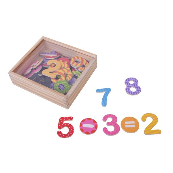 מוצרי עץ קופסת מספרים מגנטיים צבעוניים 45 יח' מעץ - מונטסורי - Mom & Me