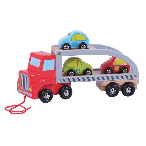 מוצרי עץ משאית גרר רכבים מעץ - מונטסורי - Mom & Me