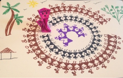 The art work is inspired by Warli paintings of India.