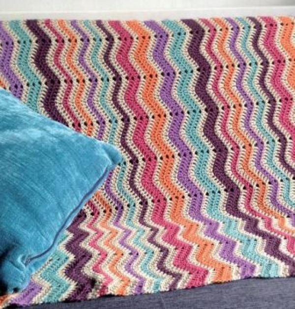 Colorful crochet blanket