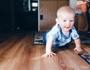 I love that I captured his first crawling moments in this soft and super flexible onesie.