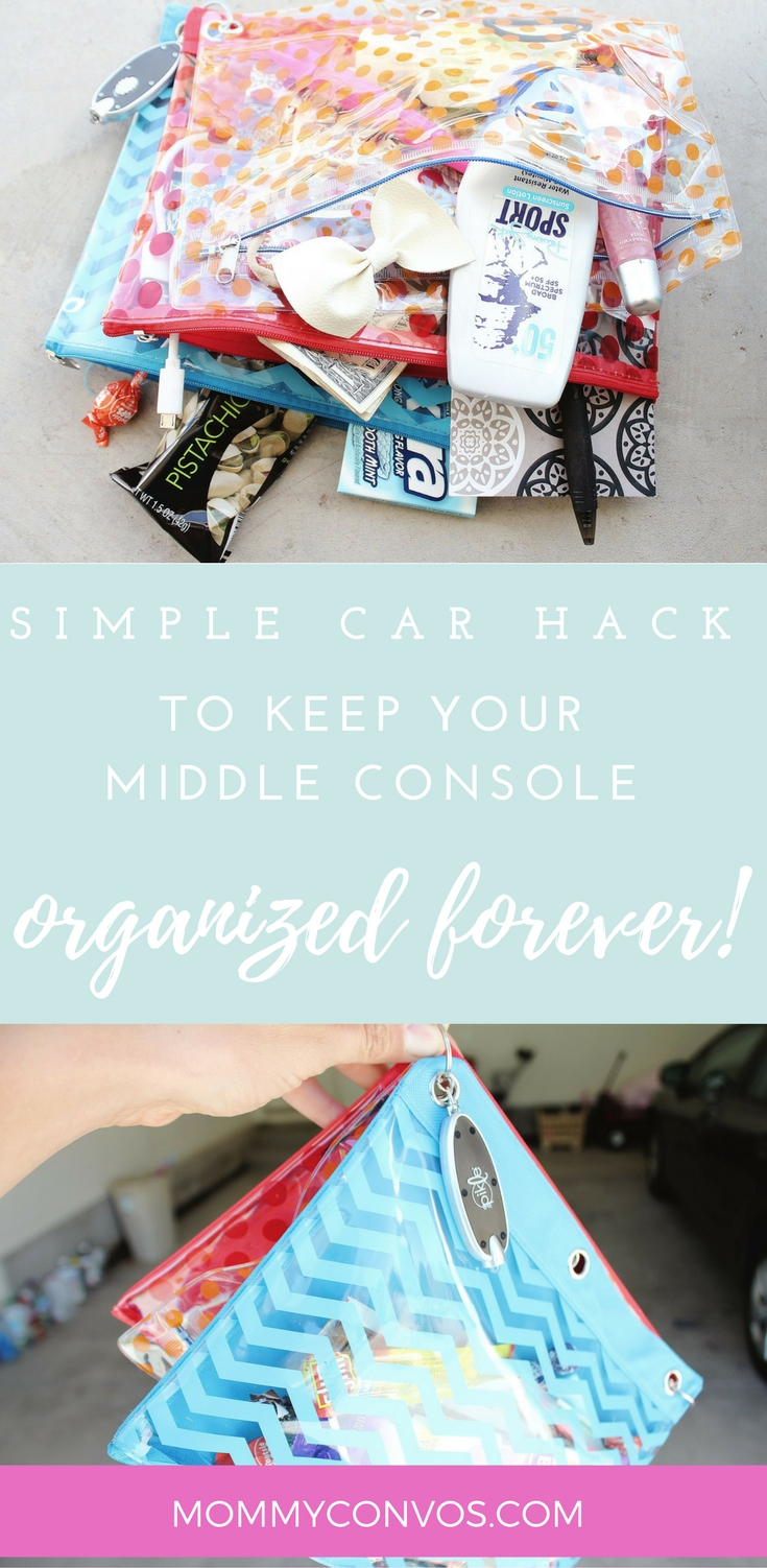 Car organization: easy way to keep middle console organized forever! Budget-friendly car organization. Middle console organizer. DIY car organization. car hacks to save sanity