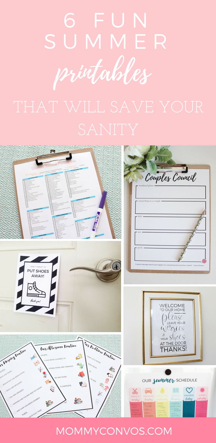 FREE Summer printables that will save your sanity. Free printables. Summer printables pack. Summer printables for the whole family. Ultimate Packing List. Couples Council. Routines. Routine Charts. Summer Schedule. Weekly summer schedule. Shoes off sign.