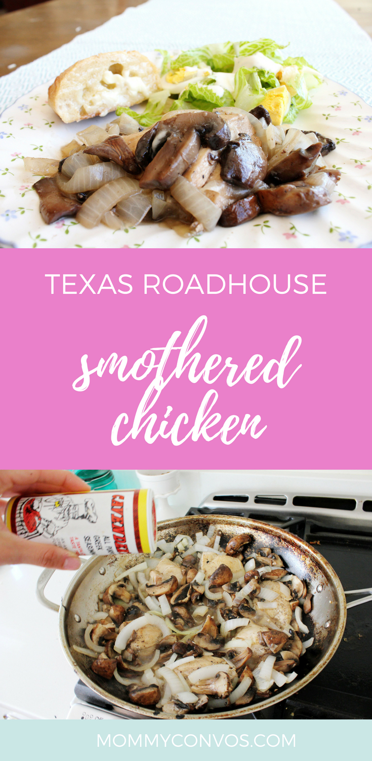 Texas roadhouse copycat recipe. Healthy smothered chicken. Mushroom chicken from Texas roadhouse. Low cal dinner idea. Easy, 20 minute dinner. One pan dinner idea. #20minutedinners. #easyhealthy #simpleeats