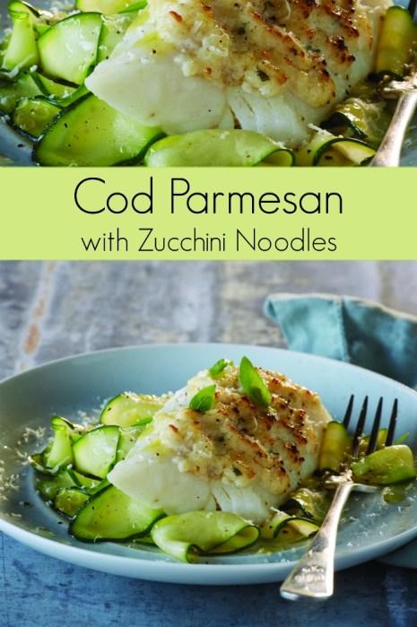 Cod Parmesan Recipe with Zucchini Noodles | Mommy Evolution #fishrecipe #codrecipe #healthyfish #healthyfishrecipe