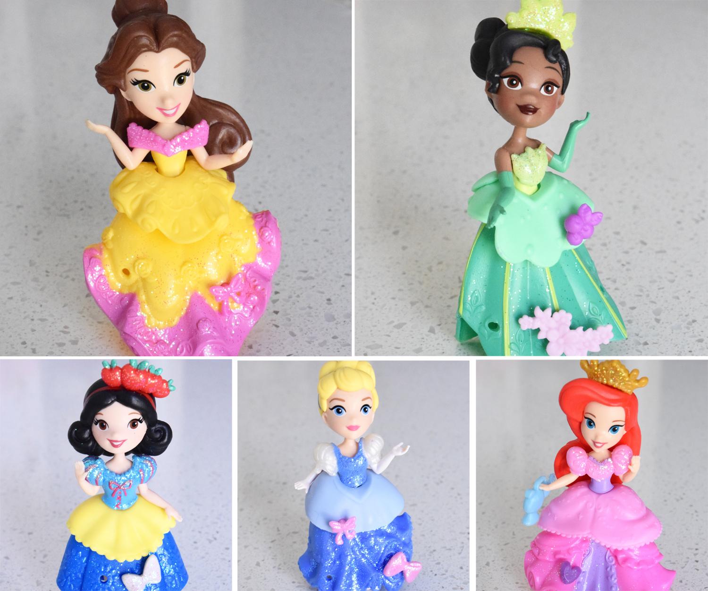 Mini Disney Princess dolls rubber dresses