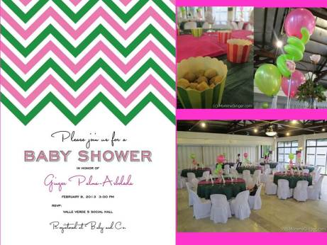 The Baby Shower invitation, Balloons from Bursting Happiness, Baking cups from Paper Chic Studio and Catering from Bistro 109.
