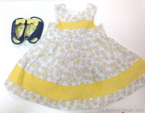 Lovely printed dress from Mothercare with matching denim shoes with yellow ribbon
