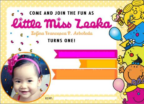 Zeeka's Little Miss Invitation