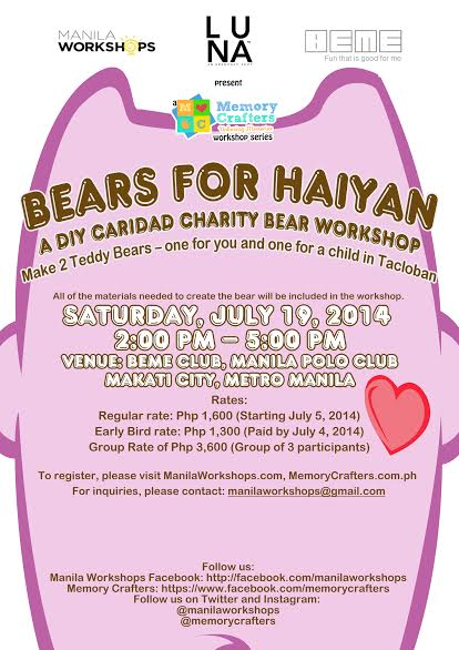 Manila Workshops Luna BEME DIY Bears for Haiyan Poster