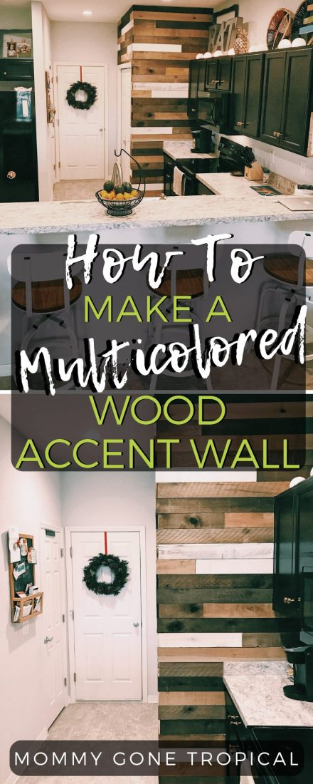 Learn how to make your own multicolored wood accent wall out of weathered wood boards. We went with wood in different shades and white! See how we did ours! #woodaccentwall #homedecor #diywoodwall