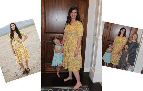 Nicole in Mustard Junieblake trendy modest Utah Dress