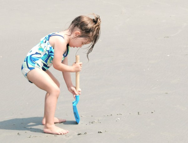 Another favorite pastime of kids on the beach...digging.  Here's Maddie digging...