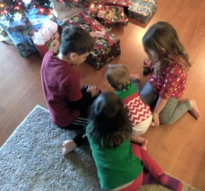 Charlie, Maddie, and Emma with Macy on her 1st Christmas.