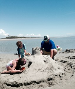 Our favorite beach activity: building sandcastles.