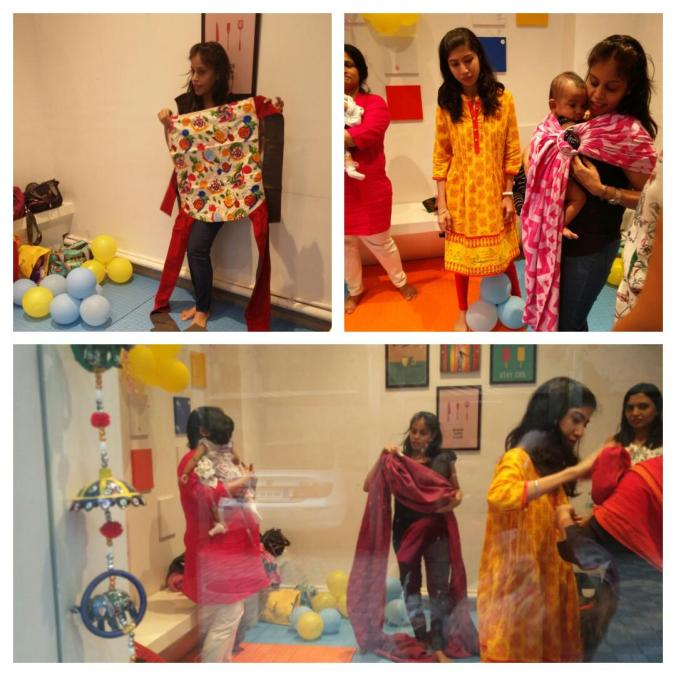Smita of Cuddle-n-Care demonstrating the various types of baby carriers