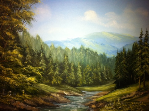 Carpathian Mountains, oil on canvas