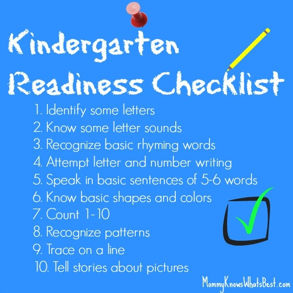 what should a child know before kindergarten