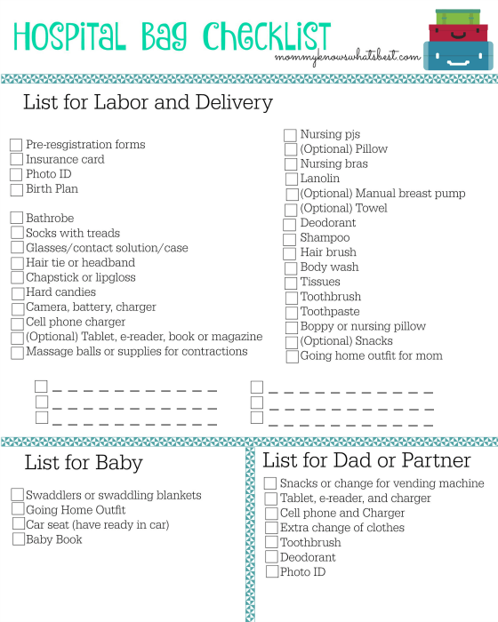 Hospital Bag Checklist Printable