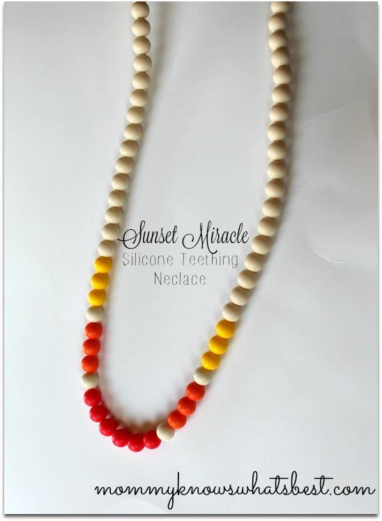 silicone teething necklace sunset