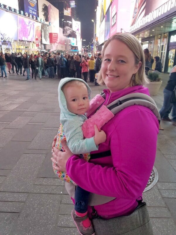 babywearing in times square