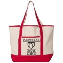 Baseball Mom Life Bag, Tote Bag with Baseball Heart