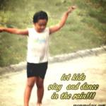 It's his first time to play and dance in the rain!