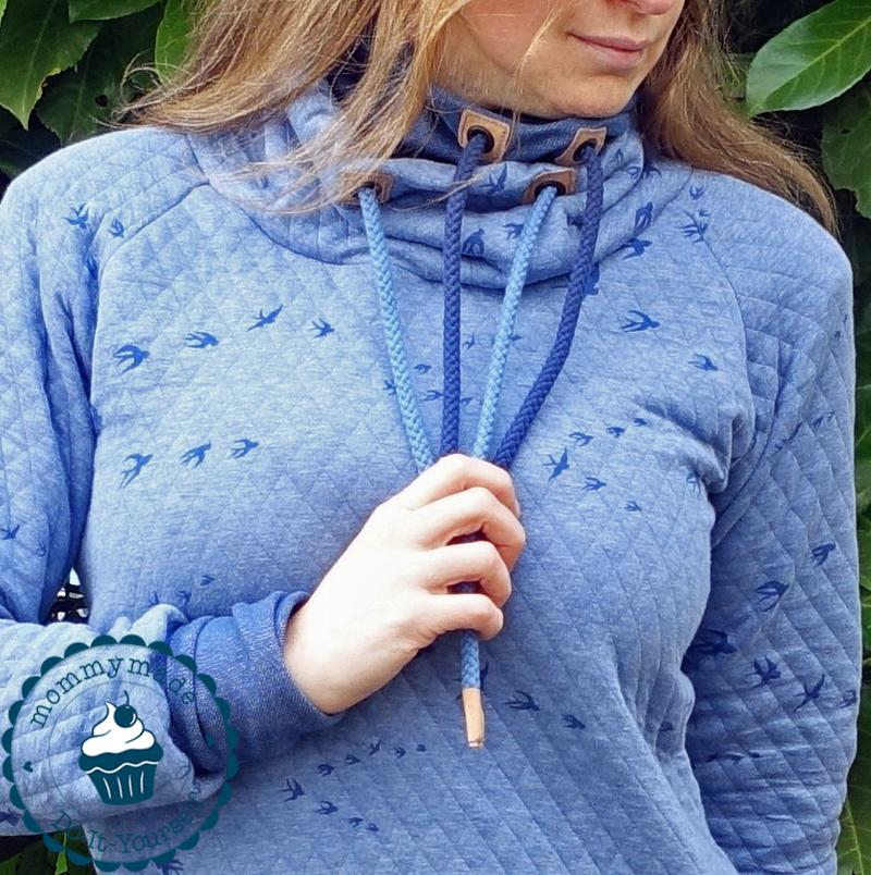Longsweater mit Daumenlochbündchen und Doppel-Schalkragen