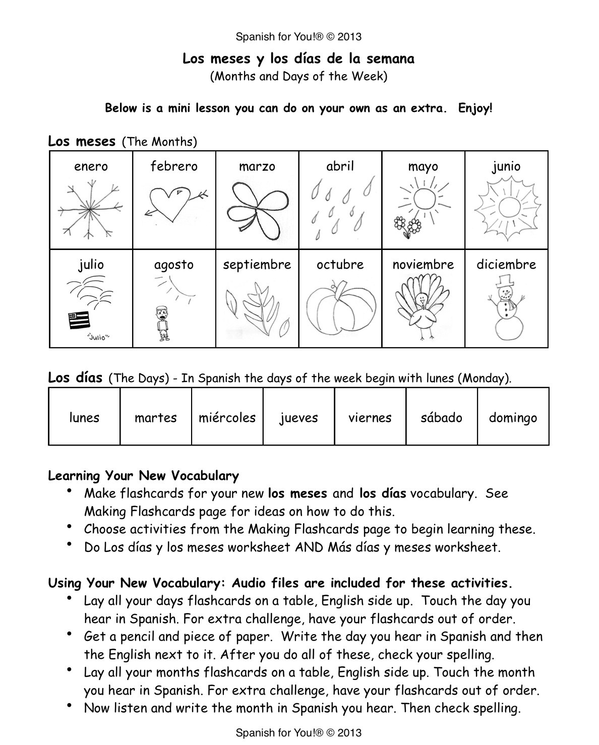 Days Of The Week In Spanish Worksheet