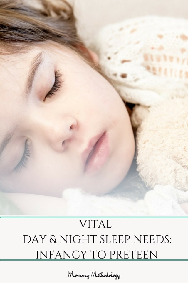 What are Vital Day & Night sleep needs from Infancy to Preteen? Ever wonder how much sleep your baby needs vs. your 5 year old? Here's a sleep chart & tips along with a FREE downloadable quick reference chart!