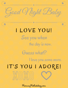 Good Night Baby Bedtime Rhyme Printable - Gray