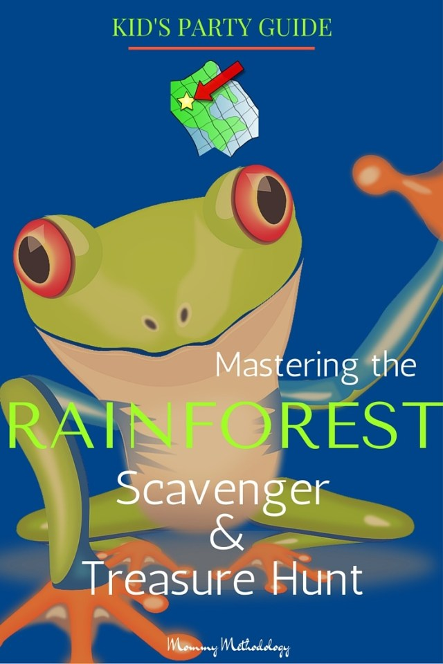 Here is a cool Kid's Party Guide to Mastering the Rainforest Scavenger & Treasure Hunt. All steps are outlined! Get access to FREE printables clues and invitation or welcome banner too!