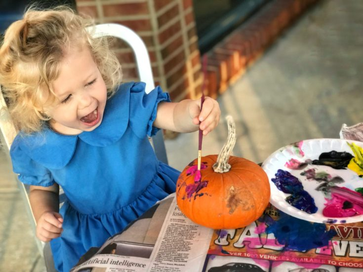 Painting Pumpkins for Halloween