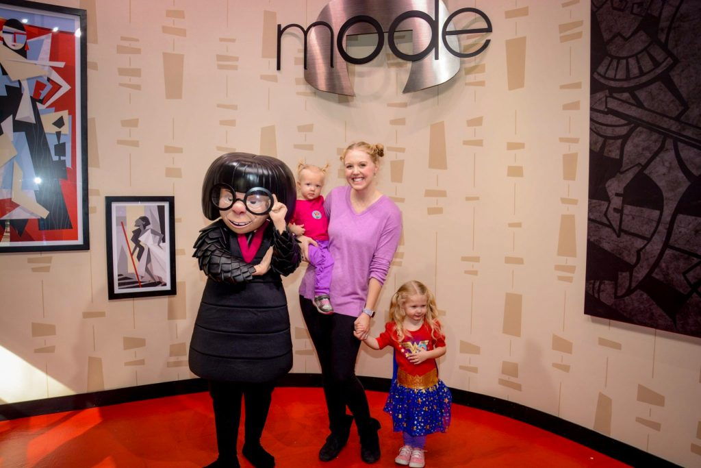 Meeting Edna Mode from The Incredibles at Pixar Place