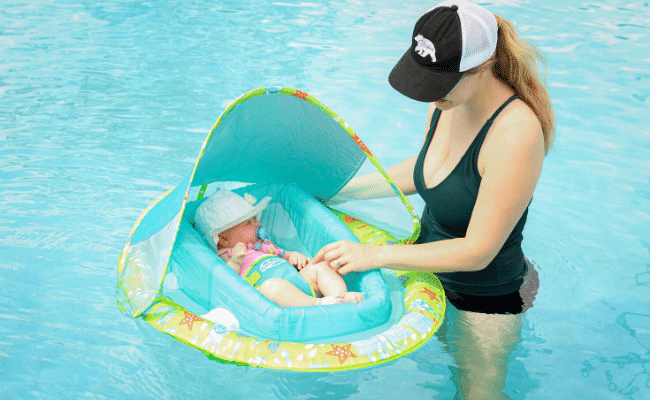 Summer Pool Safety with Best Pool Float for Baby with Canopy
