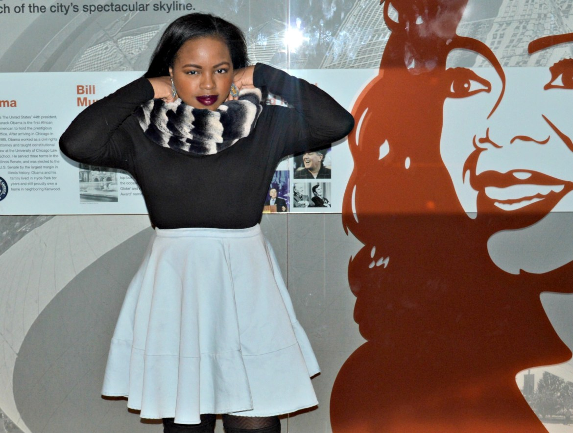 purple lipstick- skydeck chicago- skater skirt- blue jean skirt- snood- black woman with purple lipstick-purple lipstick