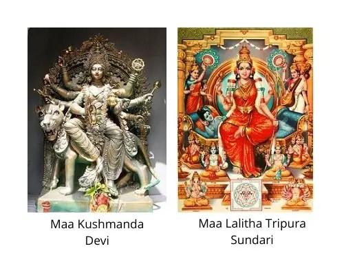 Maa Kushmanda devi and Lalitha Trupura Sundari images in the Navaratri Parenting Pebbles blogpost by Mommyshravmusings