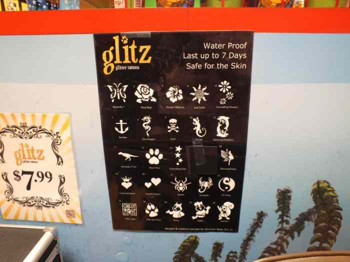 great wolf lodge glitter glitz tattoos