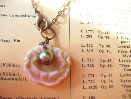 handmade by anne potter flower necklace