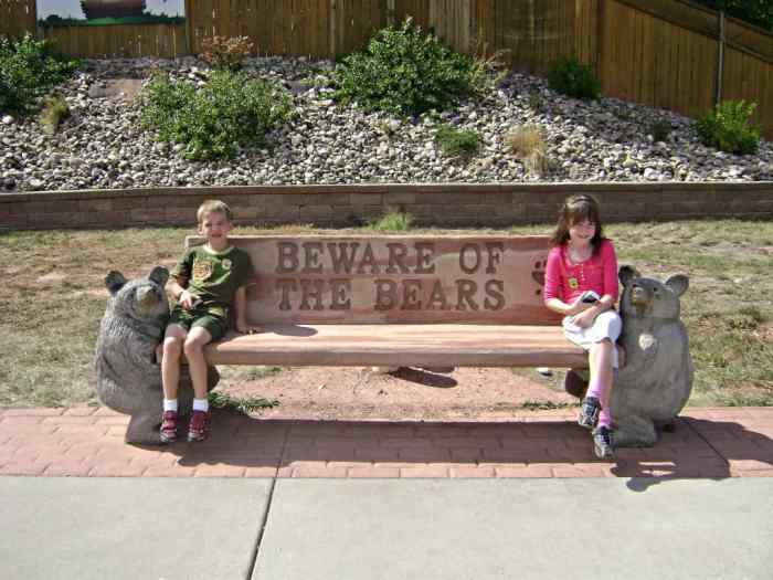 beware of the bears bench at Bear Country USA