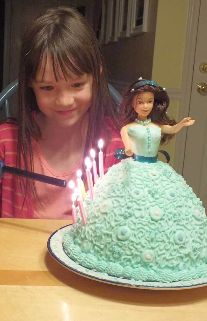 barbie doll cake celebration with Hello Kitty Fruit Snacks