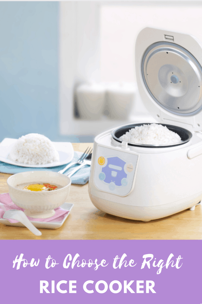 rice cooker with lavender accents next to rice on counter and bowl of soup garnished with rice