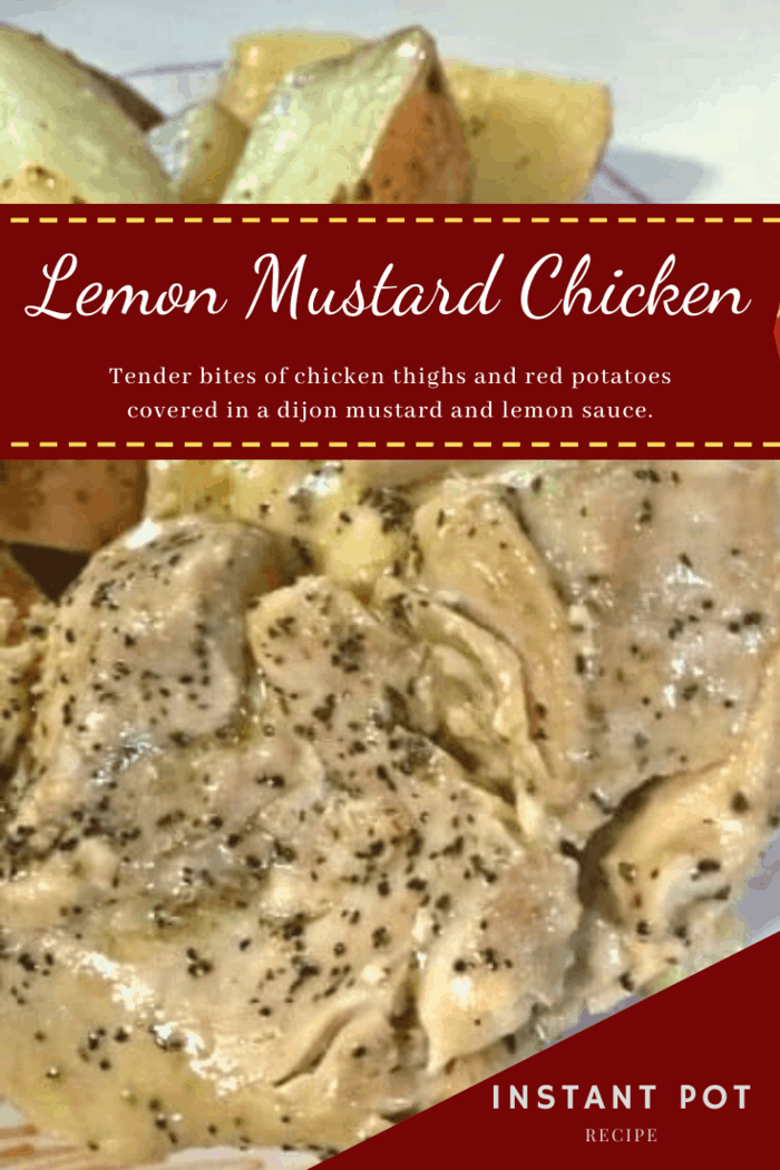 It's a meal of tender bites of chicken thighs and red potatoes covered in a dijon mustard and lemon sauce.