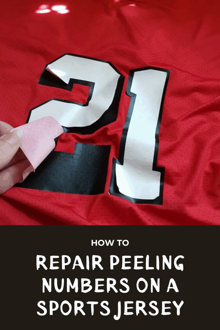 white number 21 peeling off red sports jersey