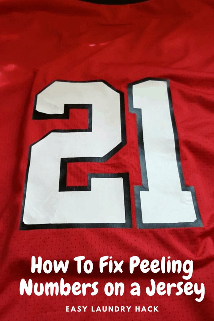 red sports jersey with repaired white number 21