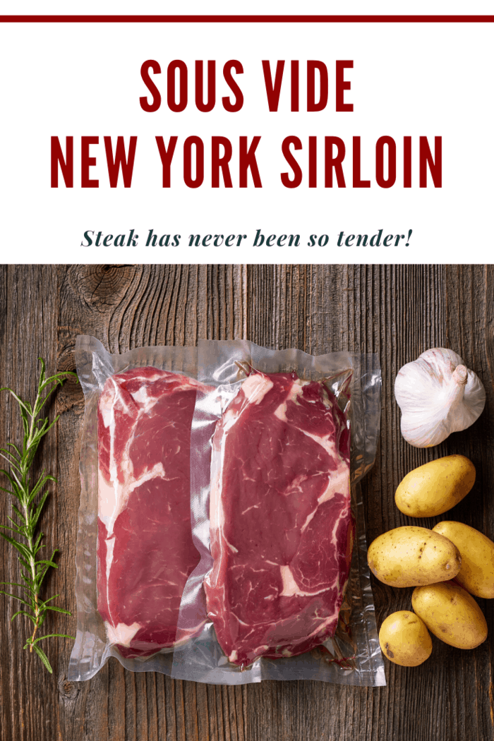 sous vide new york sirloins ready to cook