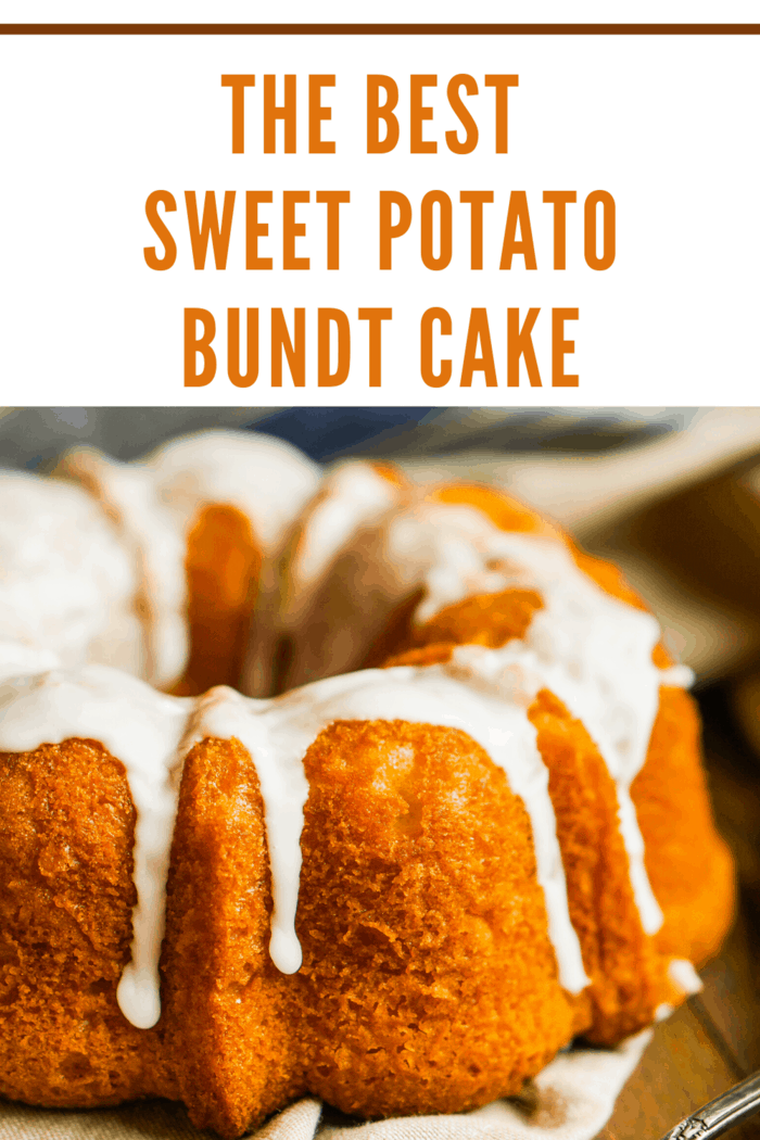 his sweet potato bundt cake with a decadent cream cheese drizzle